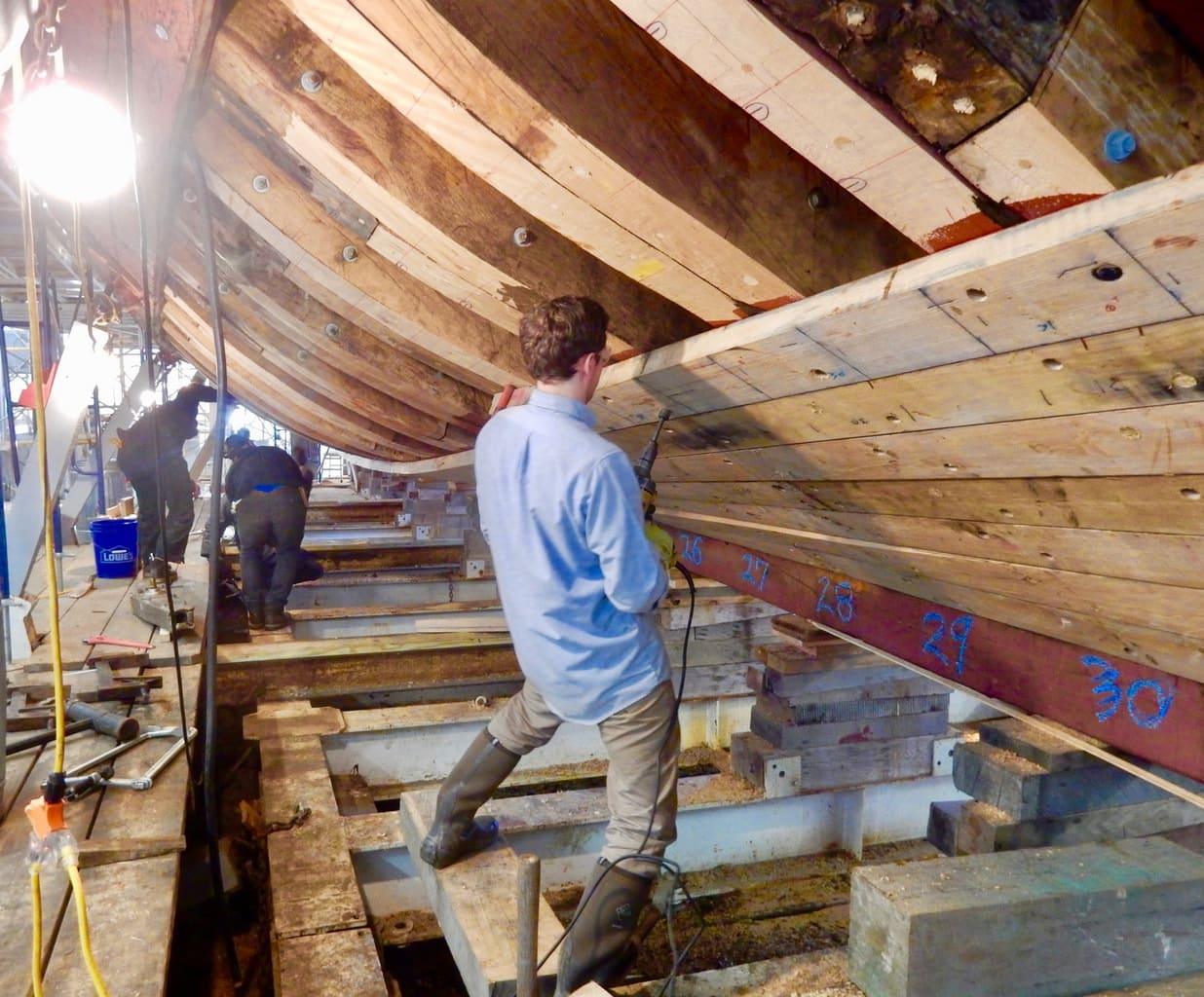 Restoration of Mayflower II at drydock at Mystic Seaport CT