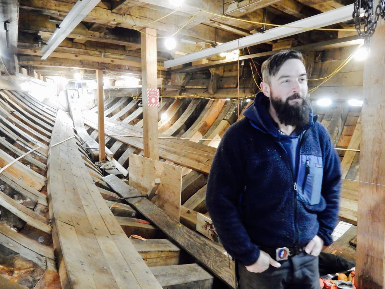 Lead Shipwright on the Mayflower II restoration, Matt Barnes, Mystic Seaport, Mystic CT
