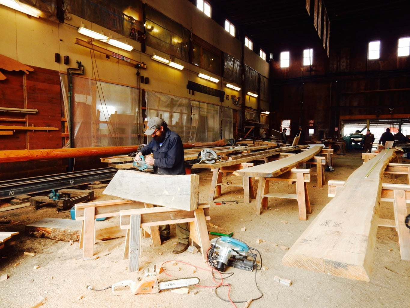 Working the wood for the Mayflower II restoration, Mystic Seaport CT