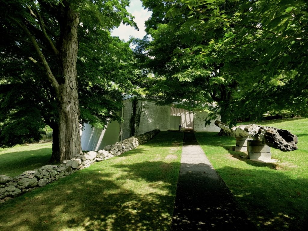 Approaching the Sculpture Gallery on Glass House Campus, New Canaan CT