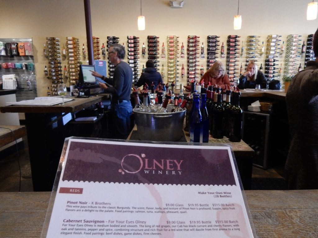 Wine menu at Olney Winery in Olney MD
