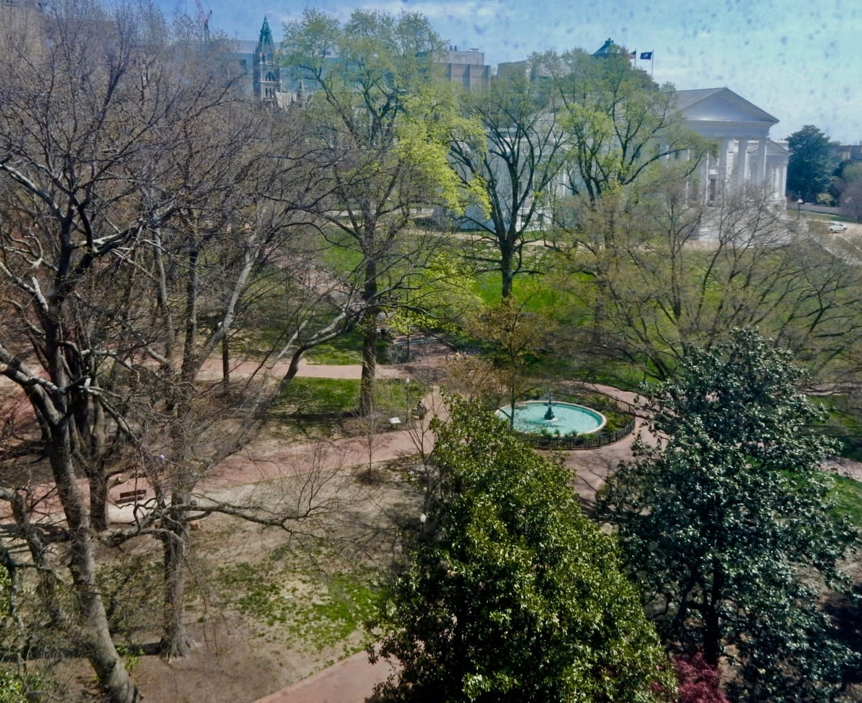 View of VA State House from Commonwealth Hotel Richmond VA