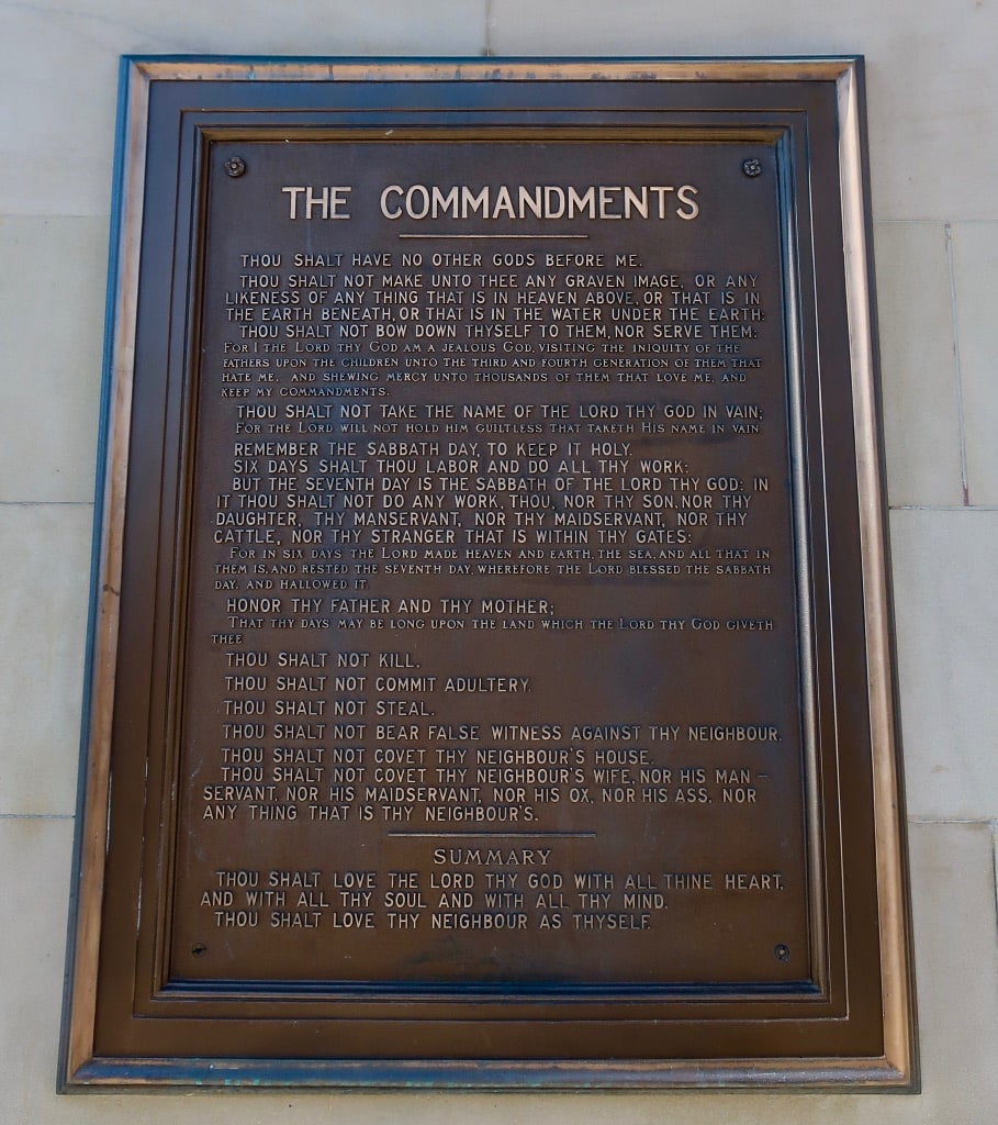 Ten Commandments plaque on facade of Chester County PA Courthouse