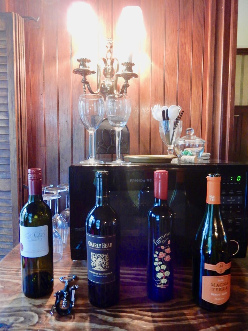 Complimentary wine set out for guests of Faunbrook BnB West Chester PA