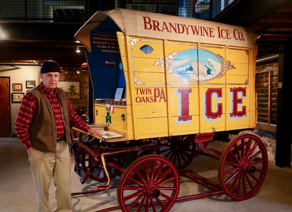 Pete Stack and ice wagon Antique Ice Tool Museum West Chester PA