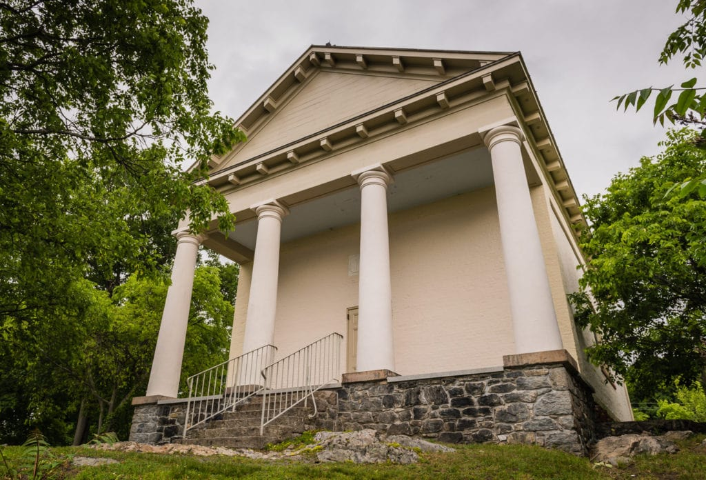Chapel Restoration of 1833 Greek Revival national landmark building in Cold Spring, NY.