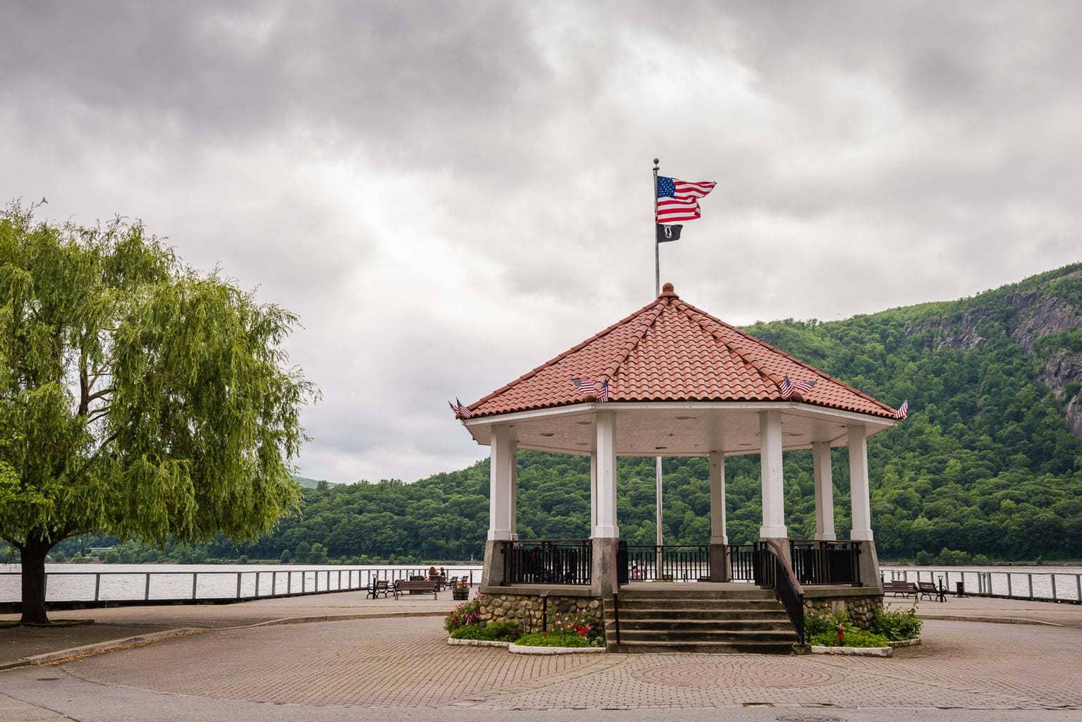 Cold Spring Riverfront Gazebo is one of the first things you'll see on a Cold Spring NY day trip.