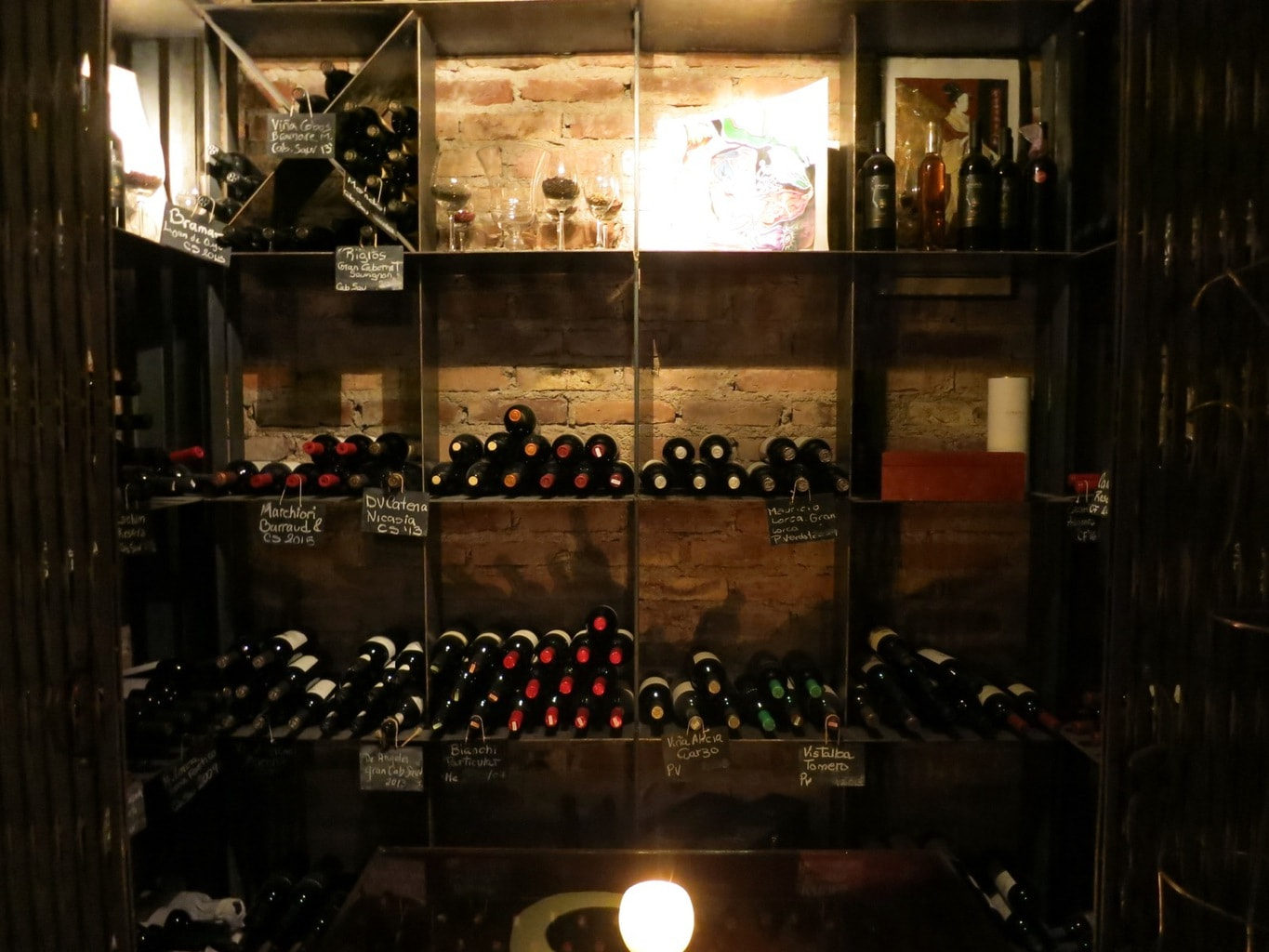 Stocked wine bottles Cavas Wine Lodge Mendoza Argentina