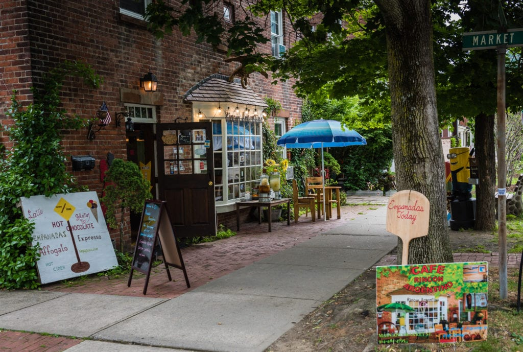 Sidewalk exterior of Rincon Argentino restaurant in Cold Spring, New York.