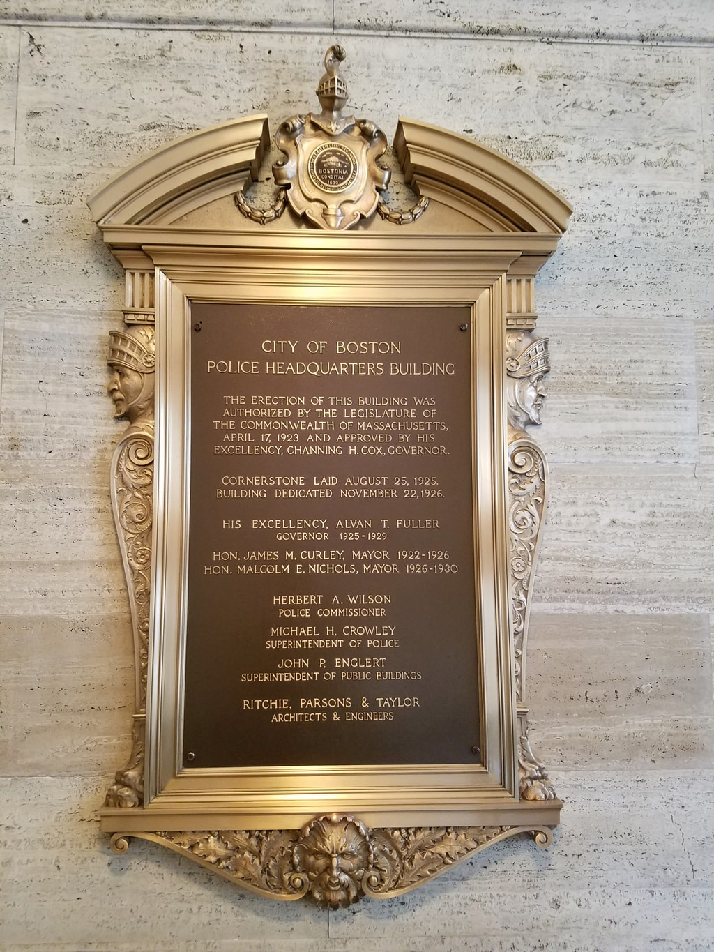 Historic Police Headquarters Plaque, Loews Boston