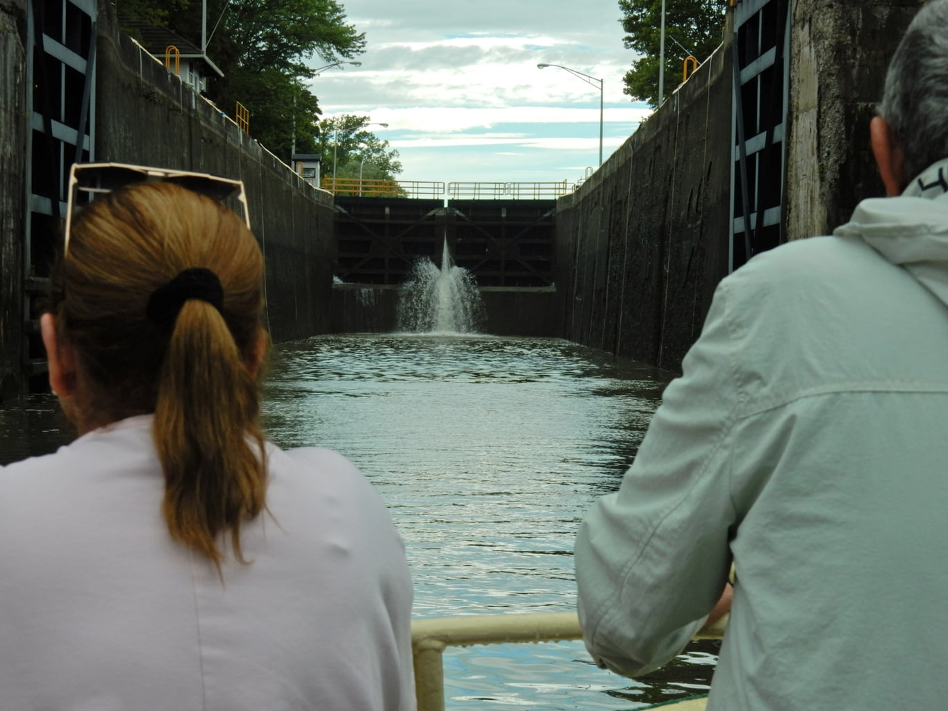 Entering Erie Canal Lock on Sam Patch Boat Pittsford NY