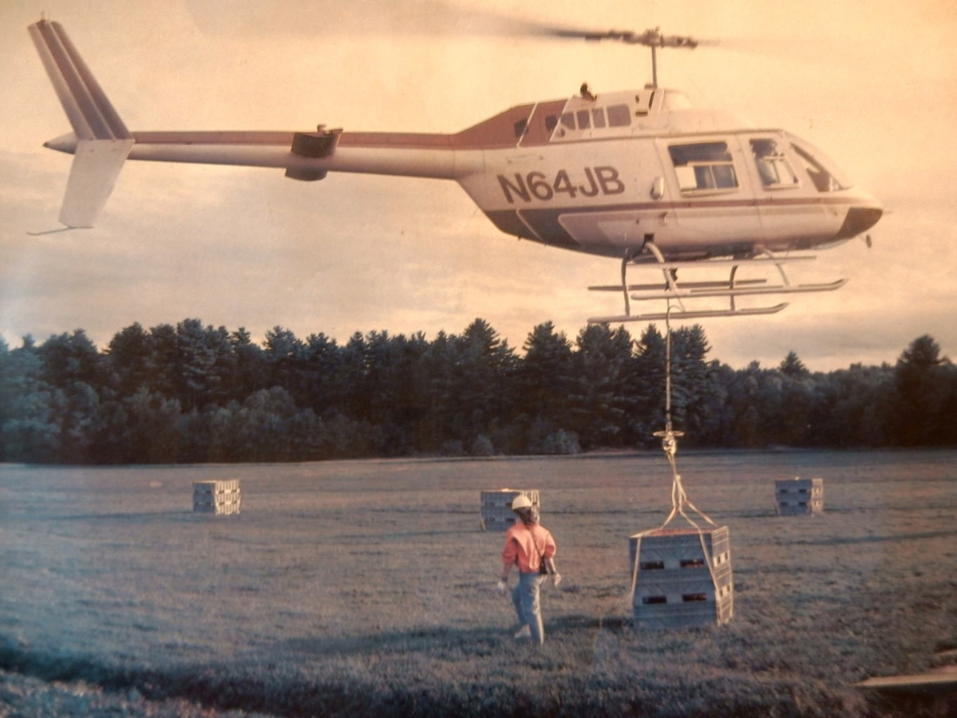 Transporting Cranberries by Helicopter Flax Pond Farm Carver MA