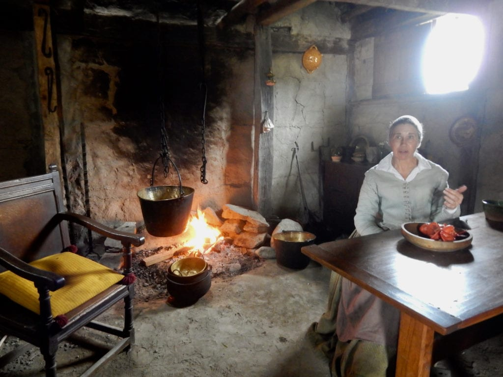 Historic cooking demonstration at Plimoth Plantation in Plymouth MA