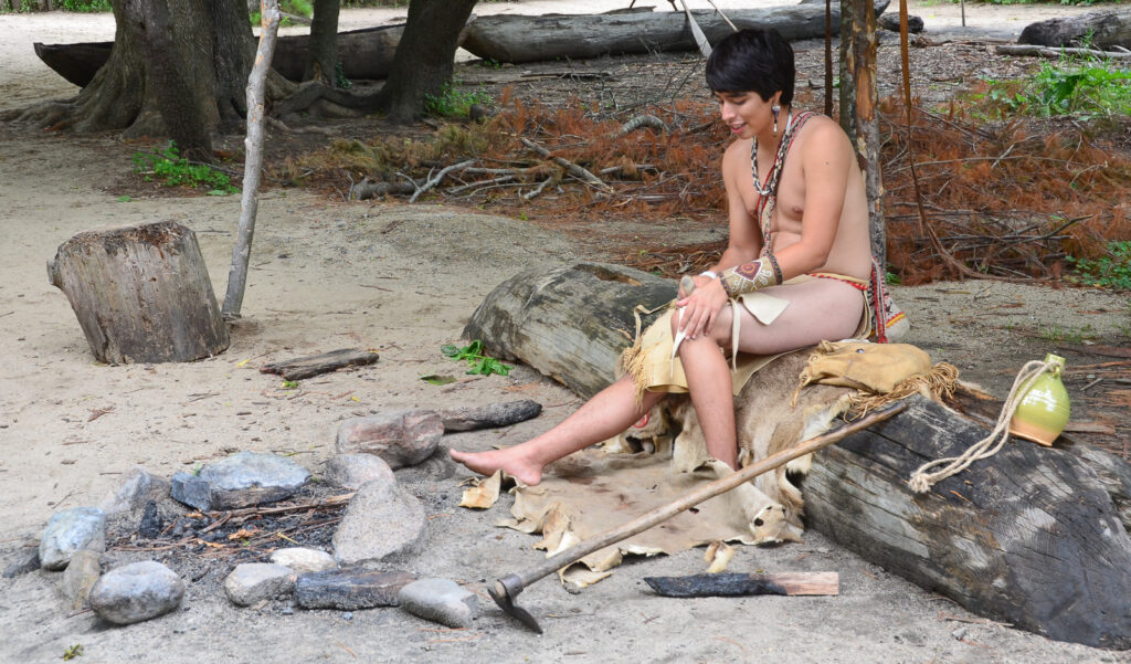 Native American reenactor at Plimoth Plantation