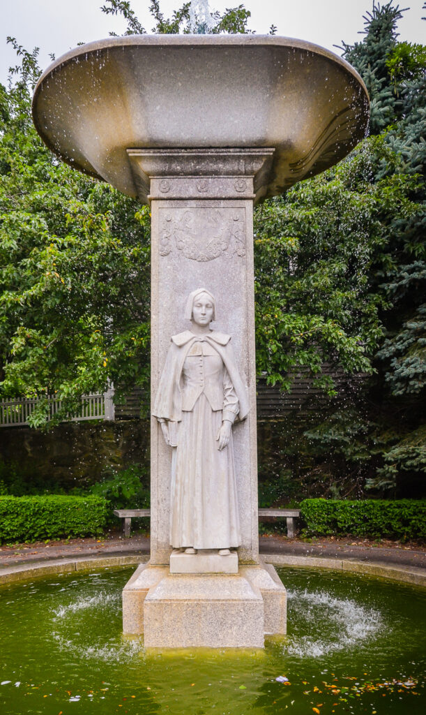 Pilgrim Mother Statue and Fountain at Pilgrim Memorial State Park in Plymouth MA