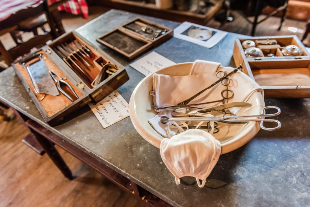 Surgical tools displayed on table at Dr Best House in Middleburgh NY.