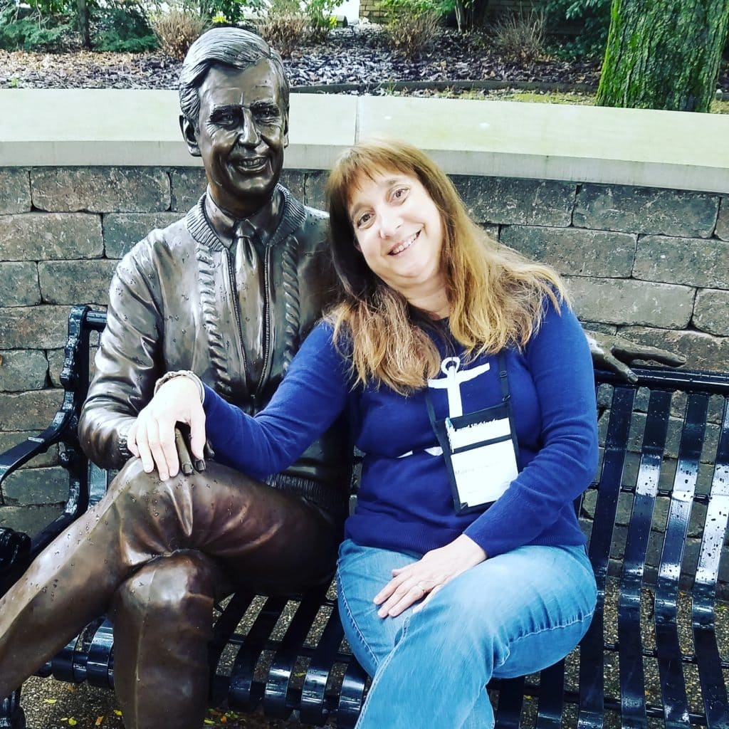 Author and Mr. Rogers Sculpture Latrobe PA