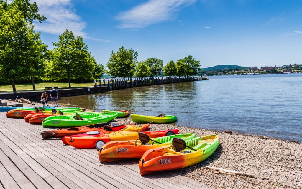 Kayaks line Hudson River shoreline in Beacon NY
