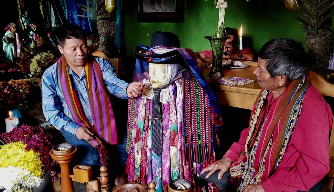 Mayan god, Masheemon, smoking, Santiago Atitlan Guatemala