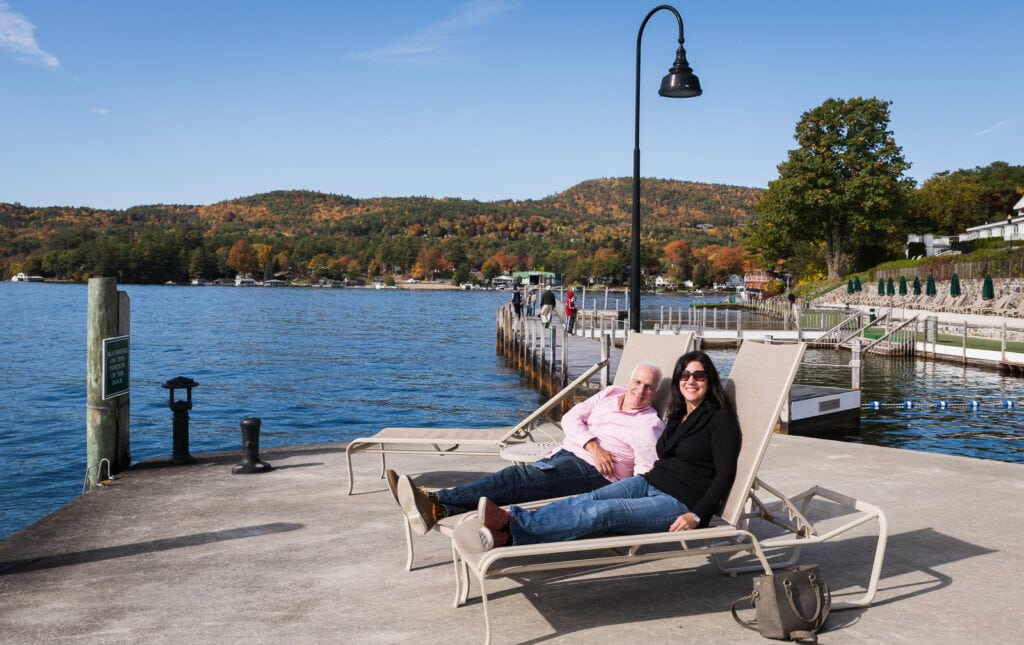 Couple relaxes at Sagamore Hotel in Bolton Landing on Lake George in Upstate NY.