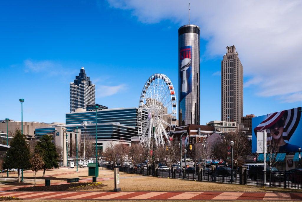 Atlanta skyline with Centennial Olympic Park and the Westin Peachtree Plaza Tower.