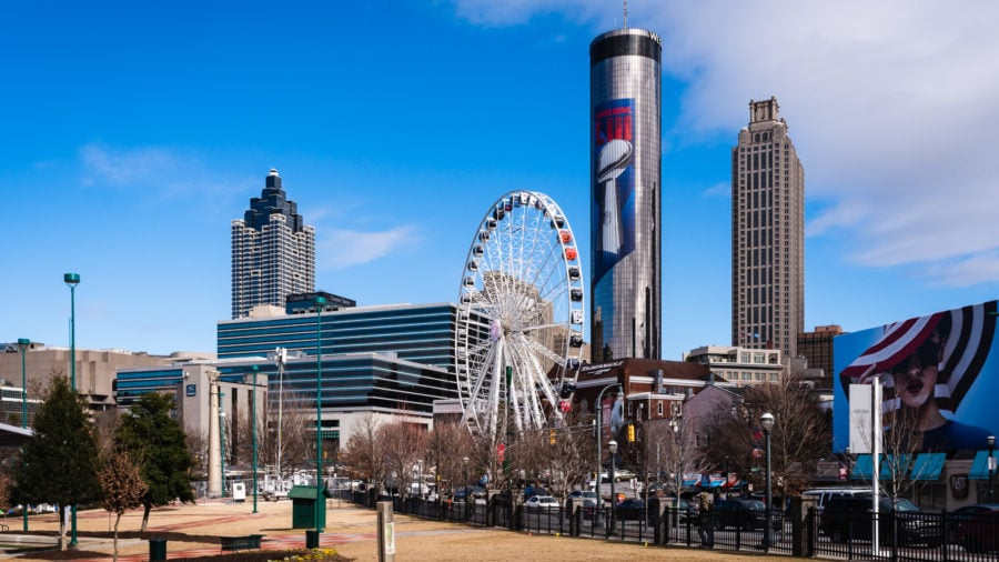 Atlanta skyline with Centennial Olympic Park and the Westin Peachtree Plaza Tower.