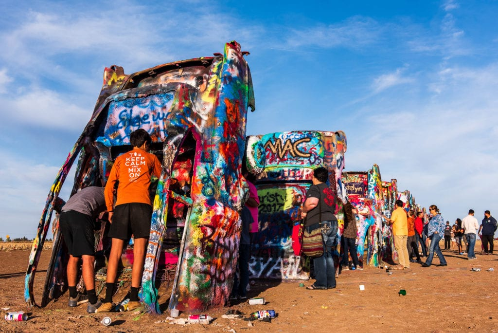 Graffiti covered sedans at the Cadillac Ranch in Armadillo, Texas.