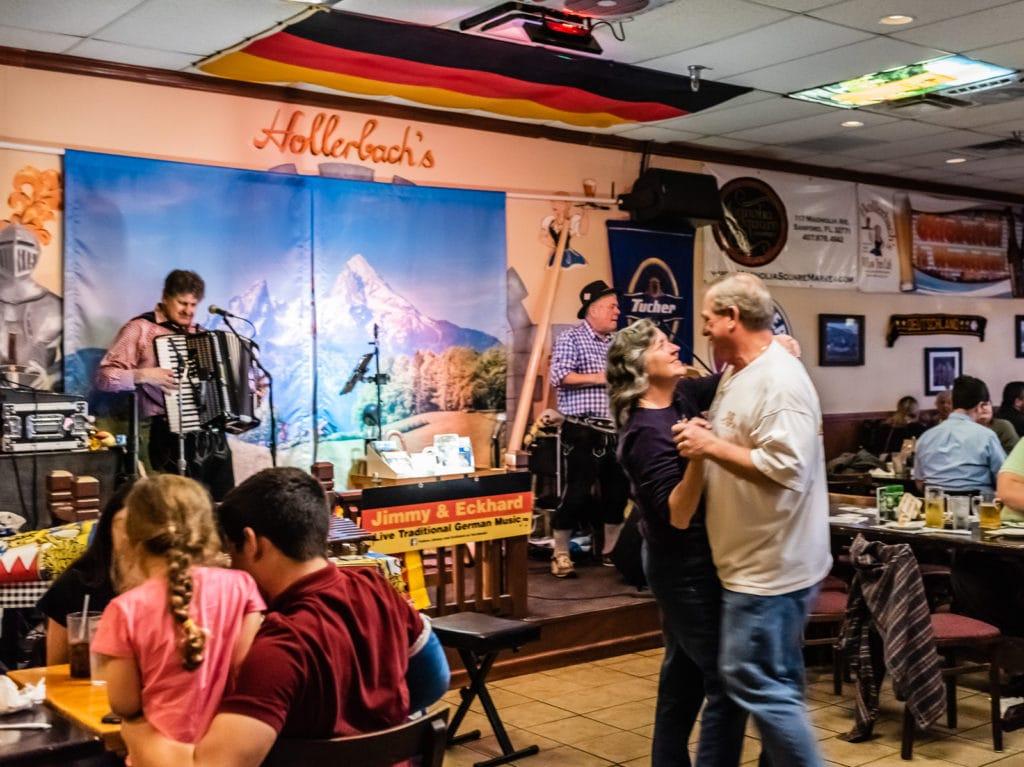 Polka dancing at Hollerbacks German Restaurant in Sanford Florida