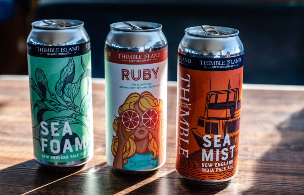 Cans of Thimble Island Brewing Company beers