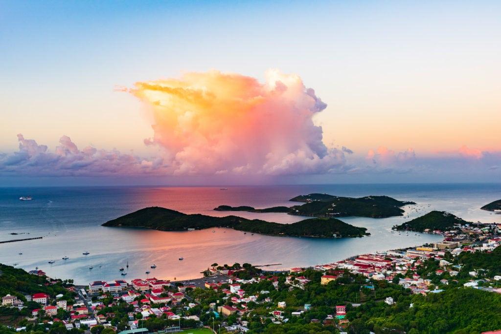 Sunrise over Charlotte Amalie, capital of St. Thomas US Virgin Islands.