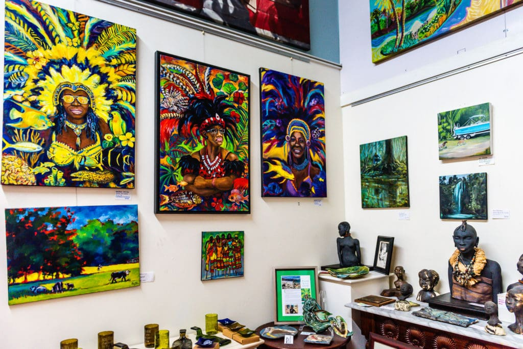 Paintings and sculptures displayed inside the Mango Tango Art Gallery in St. Thomas US Virgin Islands