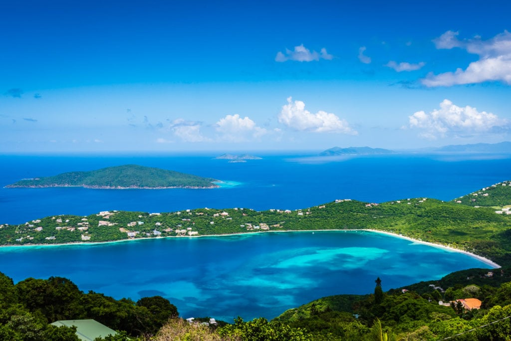 View of surrounding islands and Caribbean Sea from Mountain Top on St. Thomas US Virgin Islands
