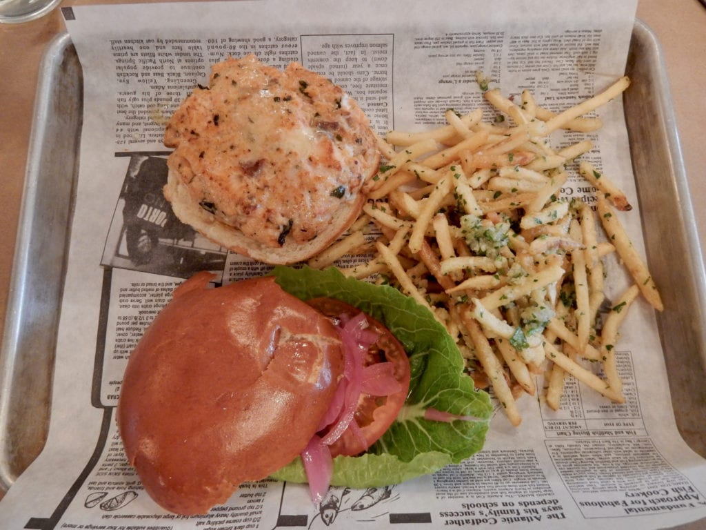 Salmon Burger and Garlic Truffle Fries, Cobblestones of Lowell MA
