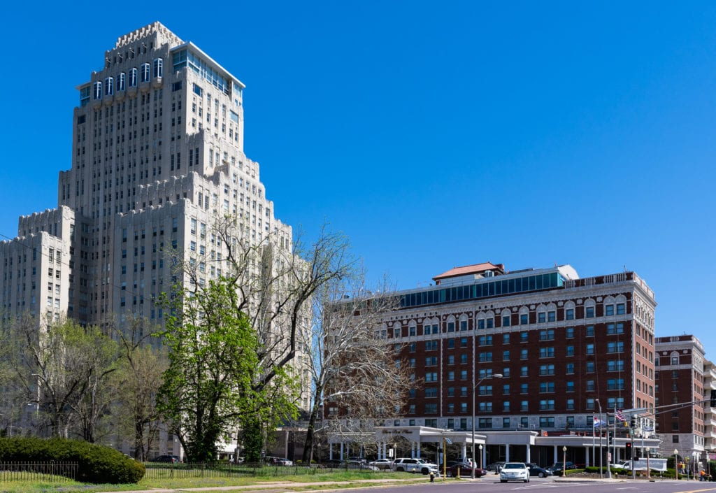 Exterior of Chase Park Plaza Hotel in St. Louis, Missouri.