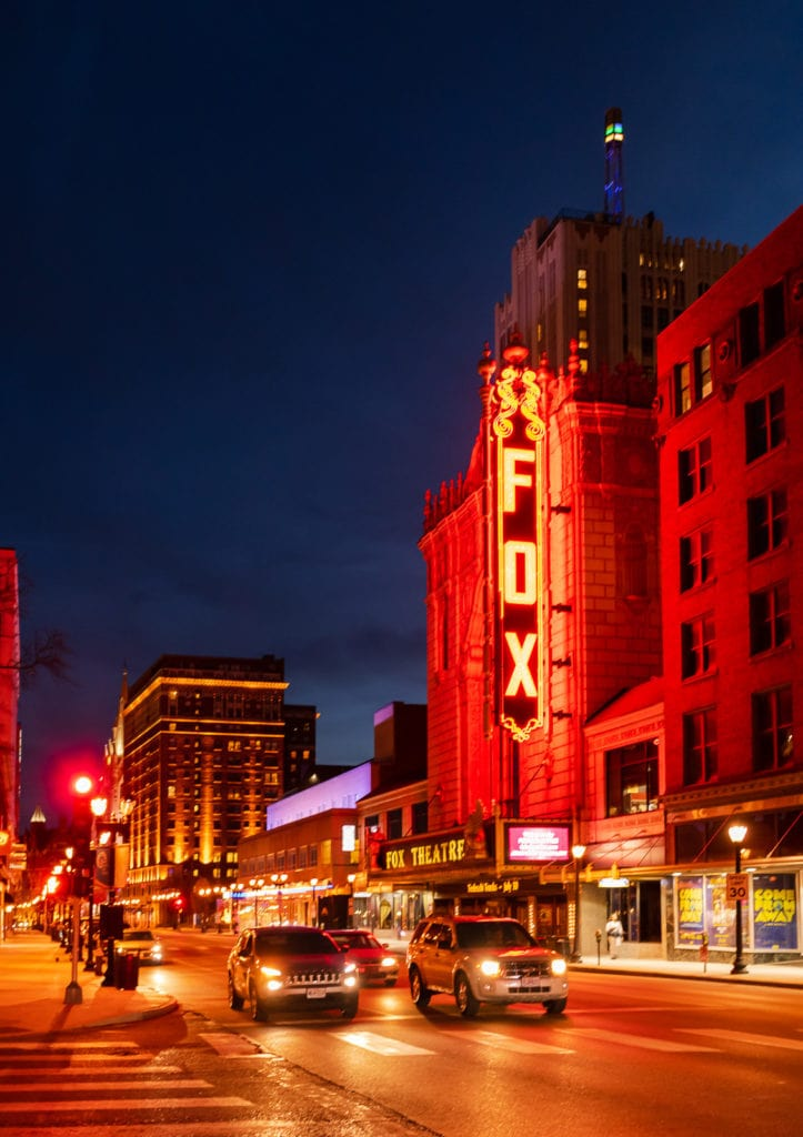 Lit up neon sign at the Fabulous Fox Theater in St. Louis MO.