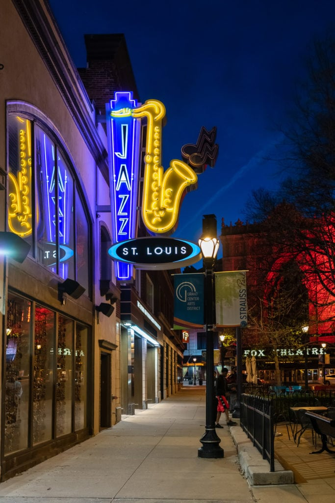 Neon lights lit up at night at Jazz St. Louis in St. Louis MO.
