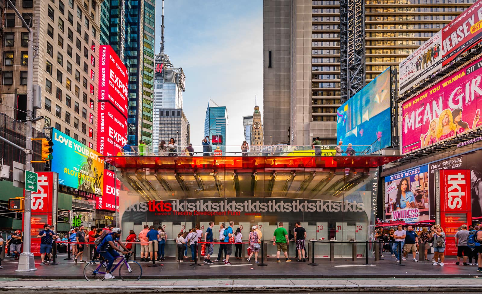 Tkts Broadway Shows Tickets booth in Times Square in New York City.