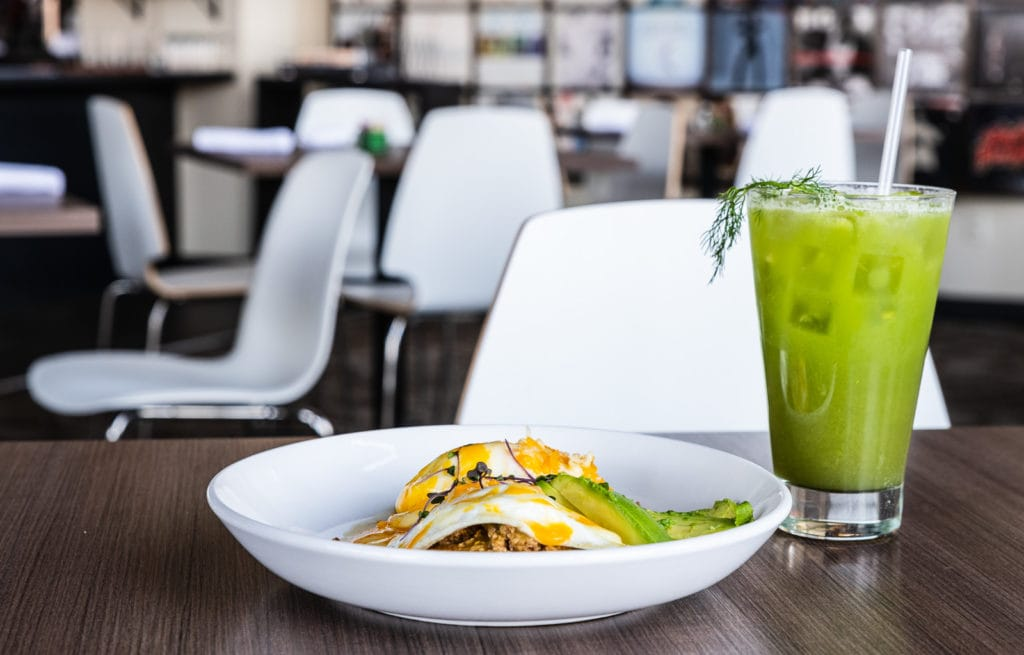 Arepa and Green Juice at Turn Restaurant in St Louis MO.