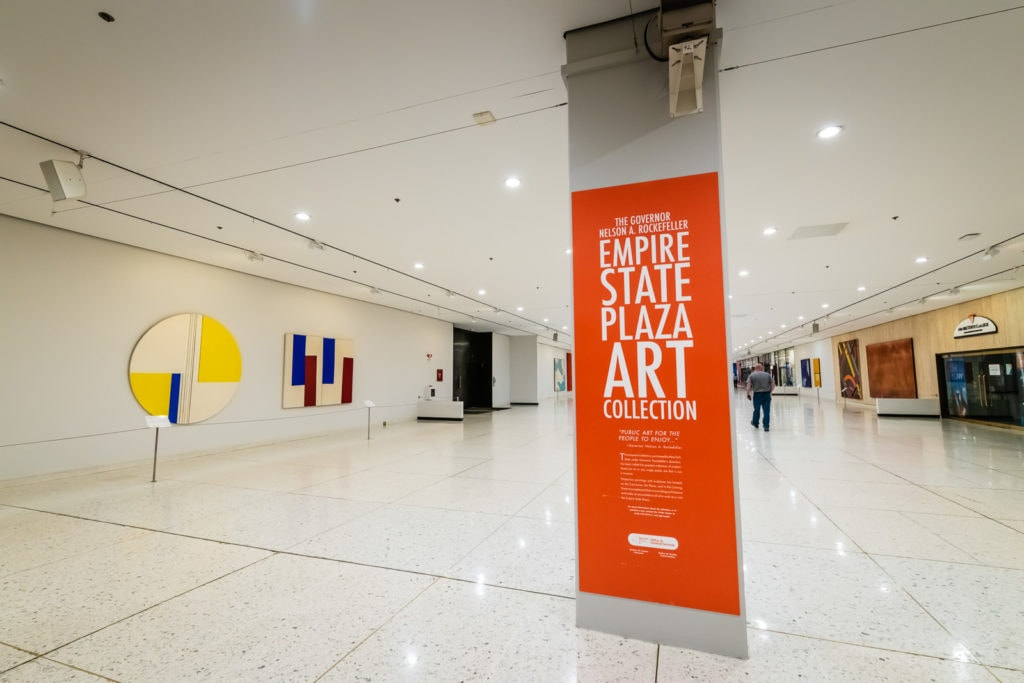 Art collection on walls of underground tunnels of Empire State Plaza Concourse in Albany NY.