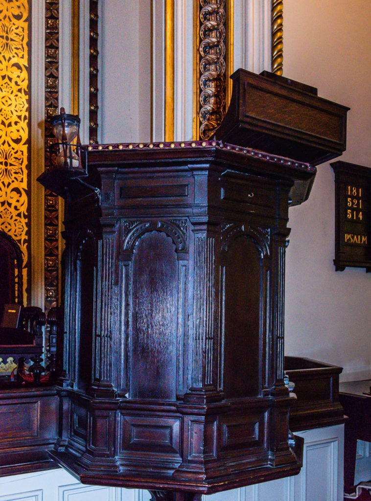 First pulpit at First Church in Albany NY.