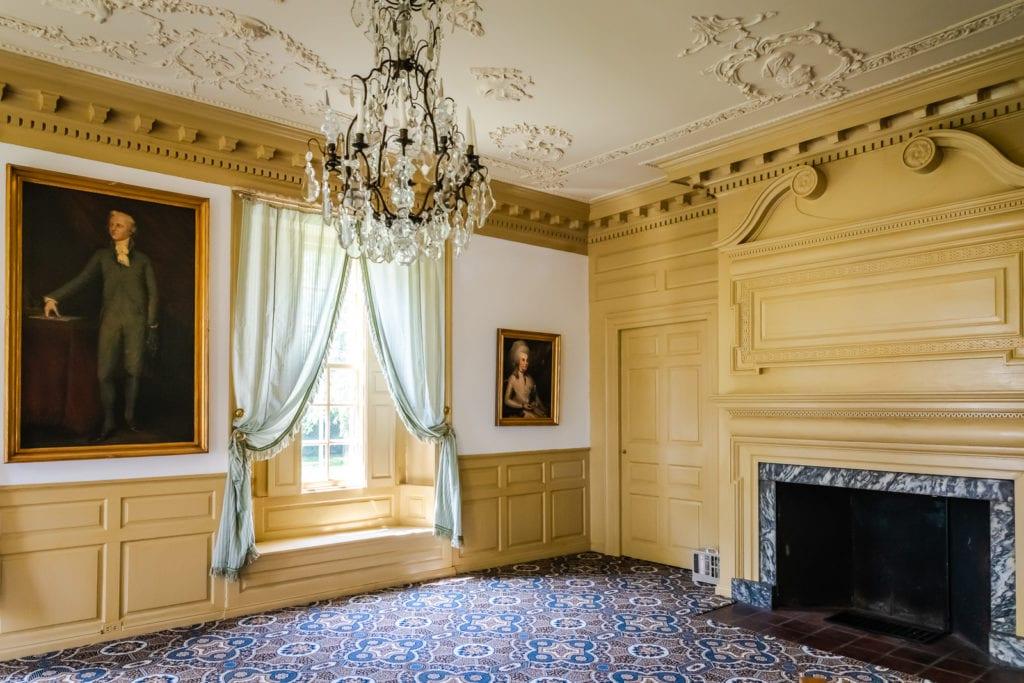 Interior of front parlor at Schuyler Mansion where Alexander Hamilton and Elizabeth Schuyler were married.