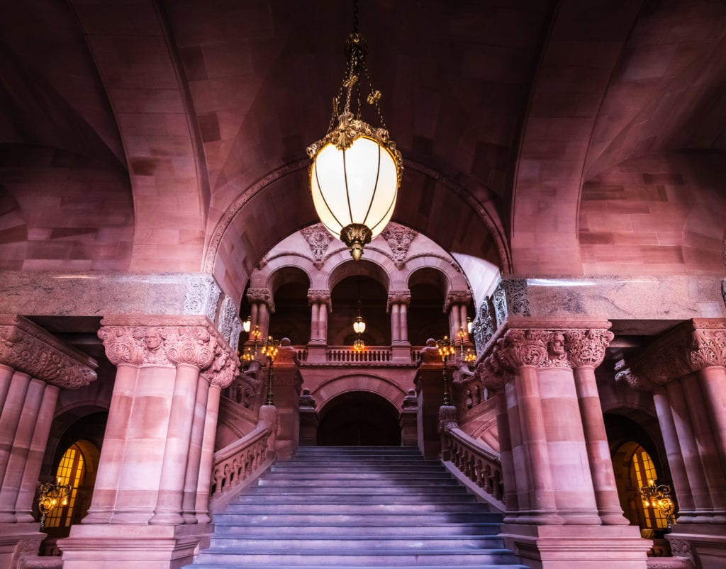 Million Dollar staircase at New York State Capitol in Albany NY.