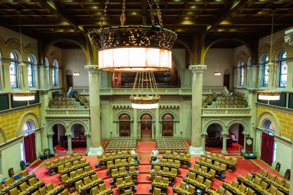 New York State Assembly room seen from overlook in Visitors Gallery.