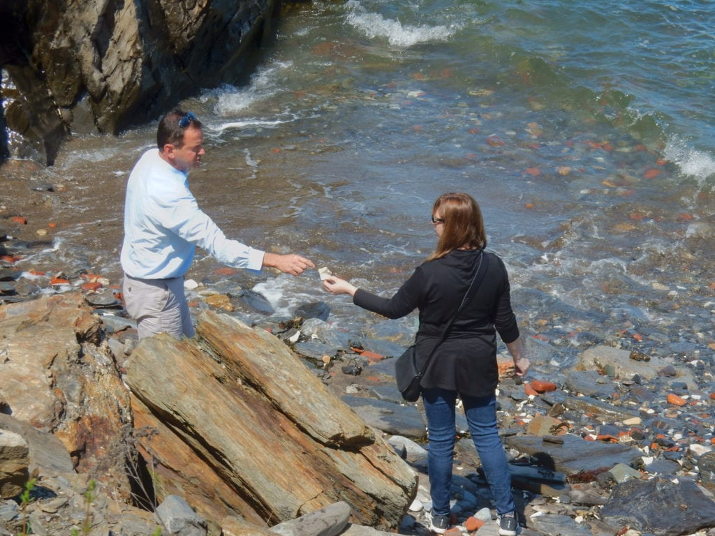 GM Gil Hartman and island resident on Seaglass Beach Diamond Cove ME