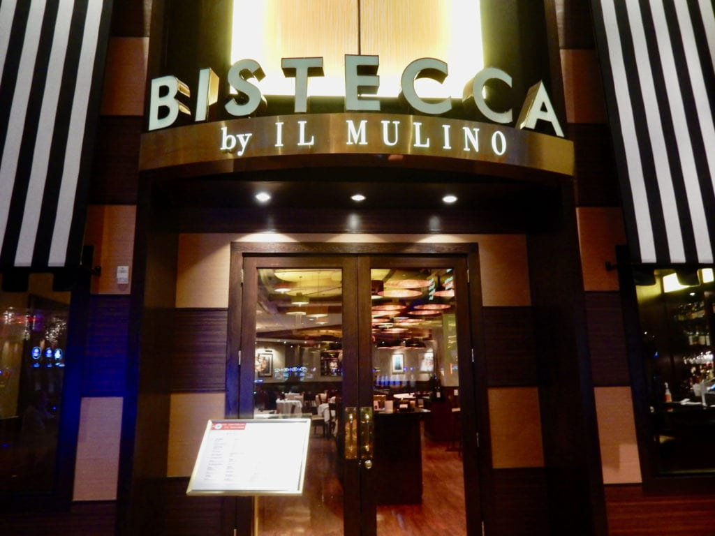 Entrance sign to Bistecca by Il Mulino at Mount Airy Casino
