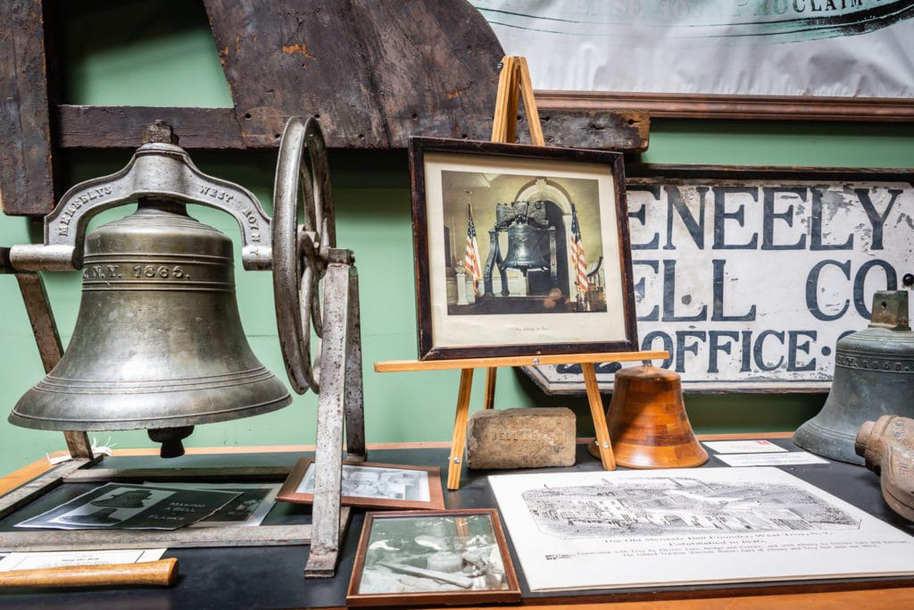 Bell display at Burden Ironworks Museum in Troy NY.