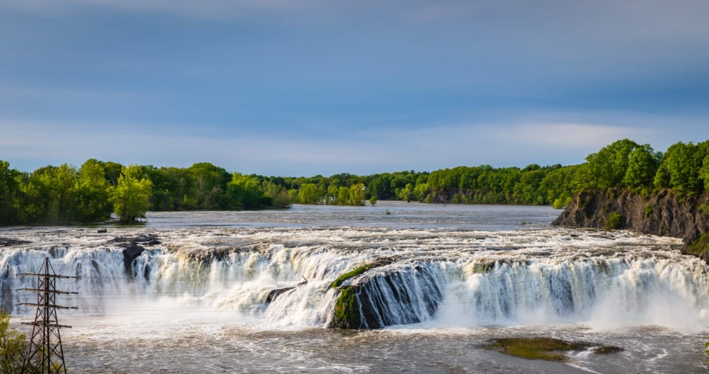 Wide exterior view of Cohoes Falls.