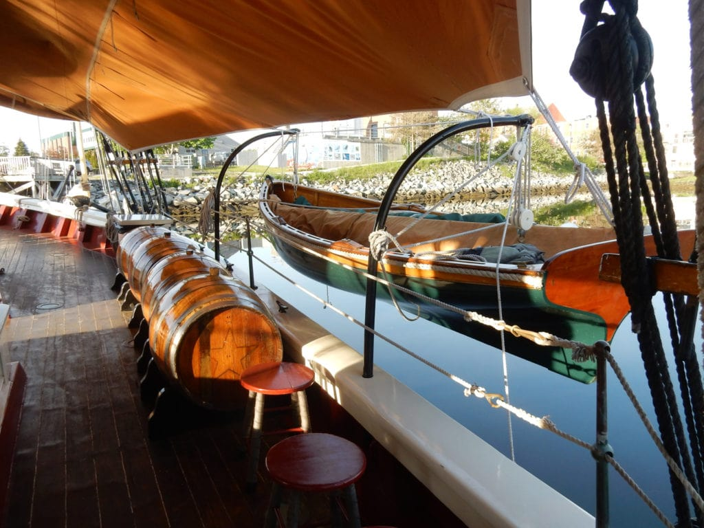 Stephen Taber keeps two wooden dinghies