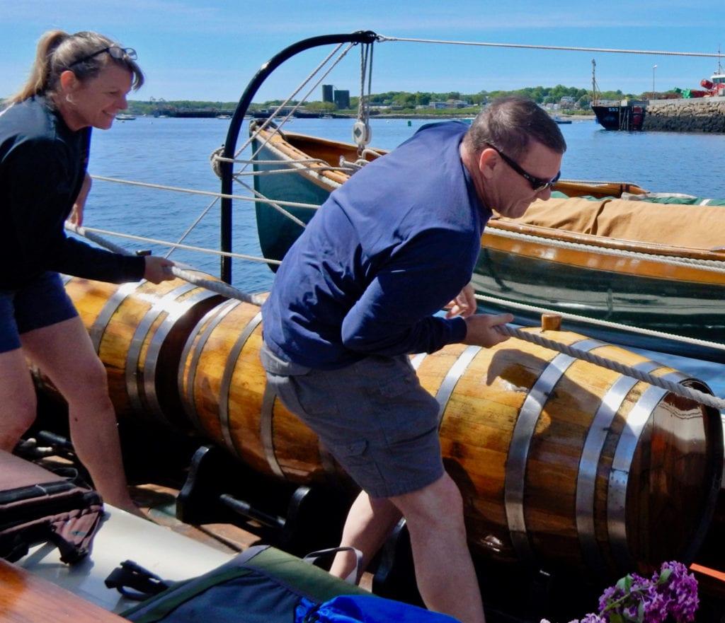 Hoisting sails on Windjammer