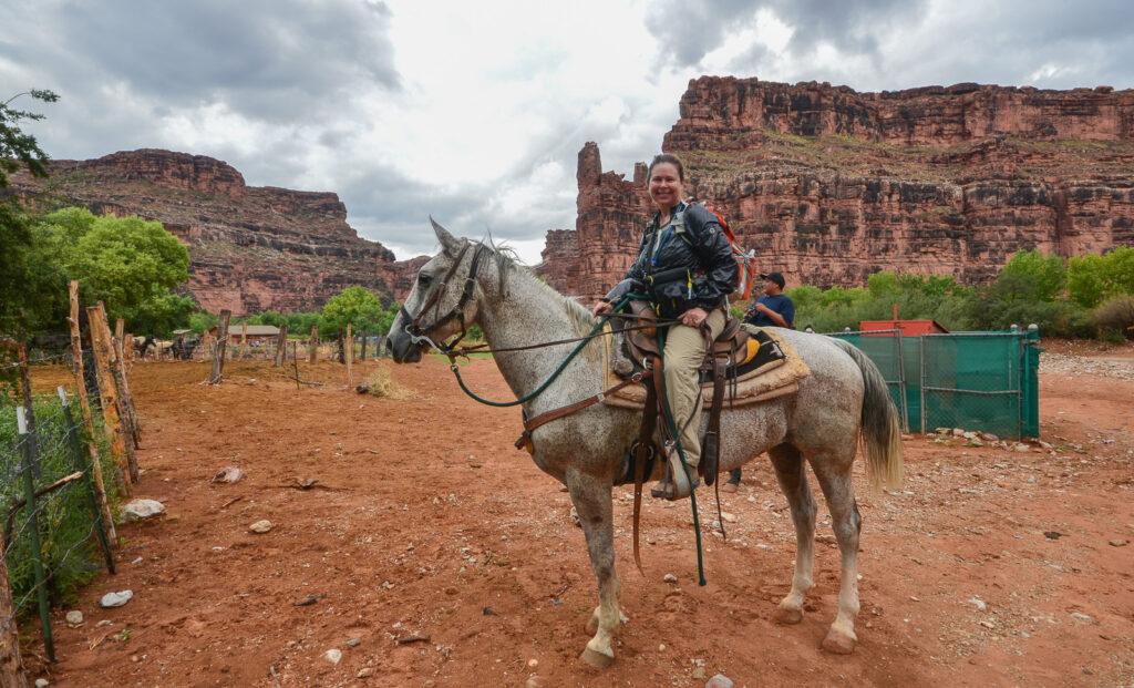 Sandra Foyt riding a horse back from Havasu Falls.